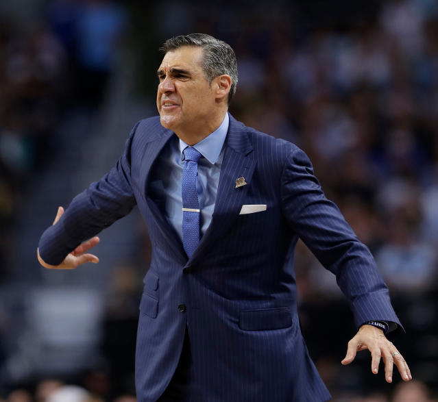 Villanova head coach Jay Wright reacts during the second half in the championship game of the Final Four NCAA college basketball tournament against Michigan, Monday, April 2, 2018, in San Antonio. (AP Photo/Eric Gay)