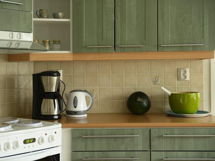 kitchen green cabinets electric kettle coffee maker colored cabinets