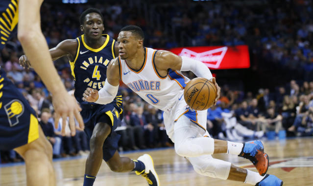 "<a class=""link rapid-noclick-resp"" href=""/nba/teams/okc/"" data-ylk=""slk:Oklahoma City Thunder"">Oklahoma City Thunder</a> guard <a class=""link rapid-noclick-resp"" href=""/nba/players/4390/"" data-ylk=""slk:Russell Westbrook"">Russell Westbrook</a>'s game packs a lot of punch. (AP Photo/Sue Ogrocki)"
