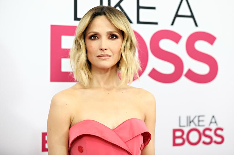 """Rose Byrne wearing a pink dress on the red carpet at the world premiere of """"Like A Boss"""" at SVA Theater on January 07, 2020 in New York City."""