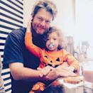 """<p>Apollo (dressed in adorable jack-o-lantern pajamas) gave Shelton a snuggle while the pair <a href=""""https://www.instagram.com/p/CBtEbMcjot0/"""" rel=""""nofollow noopener"""" target=""""_blank"""" data-ylk=""""slk:shared breakfast"""" class=""""link rapid-noclick-resp"""">shared breakfast</a>. </p>"""