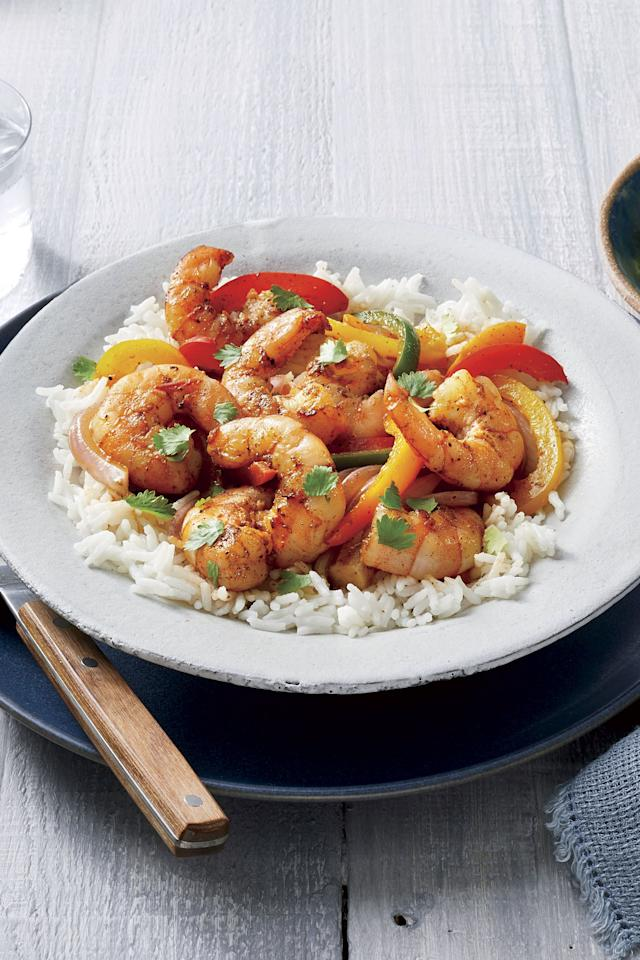 "<p>Freezing the shrimp, onions, peppers, and seasonings in the same ziplock bag not only makes this <a href=""https://www.southernliving.com/recipes/easy-steak-fajitas"">fajita dish</a> come together faster, it also acts as a marinade, intensifying the flavor. To <a href=""https://www.southernliving.com/food/how-to/how-to-freeze-and-store-soup"">maximize freezer space</a>, lay the prepared bags flat in a single layer in the freezer; when frozen, stack bags to save room. Before broiling, make sure the mixture is completely thawed with no icy chunks, which will water down the dish.</p> <p><a href=""https://www.myrecipes.com/syndication/shrimp-fajitas-bowl"">Shrimp Fajita Bowls Recipe</a></p>"