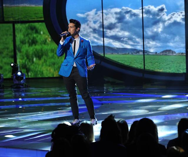 "Lazaro Arbos performs Kelly Clarkson's ""Breakaway"" on the Wednesday, March 13 episode of ""American Idol."""