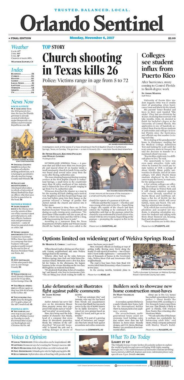 <p>ORLANDO SENTINEL<br> Published in Orlando, Fla. USA. (newseum.org) </p>