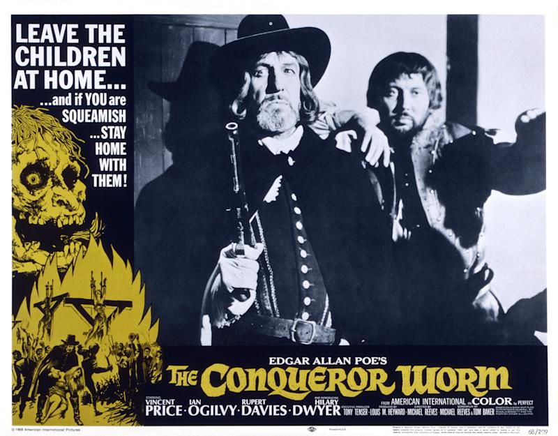 The Conqueror Worm, lobbycard, (aka WITCHFINDER GENERAL), from left, Ian Ogilvy, Hilary Dwyer, (aka Hilary Heath), 1968. (Photo by LMPC via Getty Images)