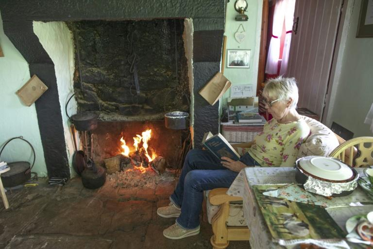 Come rain or shine the entire home is heated by an open hearth fire stacked with bricks of peat