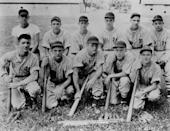 <p>Dean (front, center) and his high school baseball team pictured in 1948 in Indiana. </p>