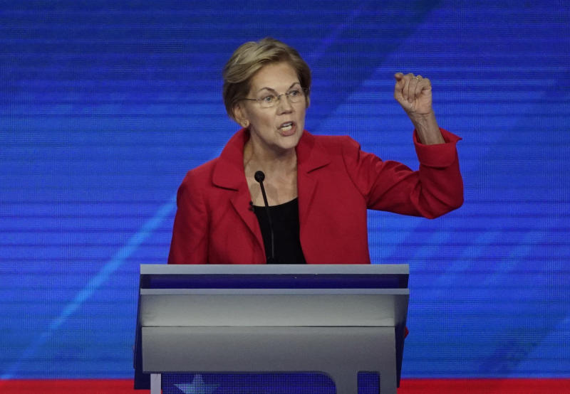 Sen. Elizabeth Warren, D-Mass., speaks Thursday, Sept. 12, 2019, during a Democratic presidential primary debate hosted by ABC at Texas Southern University in Houston. (AP Photo/David J. Phillip)