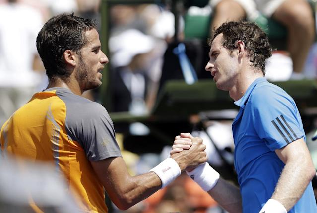 Feliciano Lopez, left, of Spain, greets Andy Murray, of Great Britain, after Murray's 6-4, 6-1 win at the Sony Open tennis tournament in Key Biscayne, Fla., Sunday, March 23, 2014. (AP Photo/Alan Diaz)