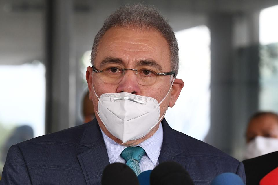 Doctor Marcelo Queiroga, appointed by Brazilian President Jair bolsonaro as Minister of Health speaks to the press outside the ministry in Brasilia, on March 16, 2021. - Queiroga replaces the former Minister of Health Eduardo Pazuello at a time when the health system is on the verge of collapse due to the coronavirus pandemic that has already left nearly 280,000 dead. (Photo by EVARISTO SA / AFP) (Photo by EVARISTO SA/AFP via Getty Images)