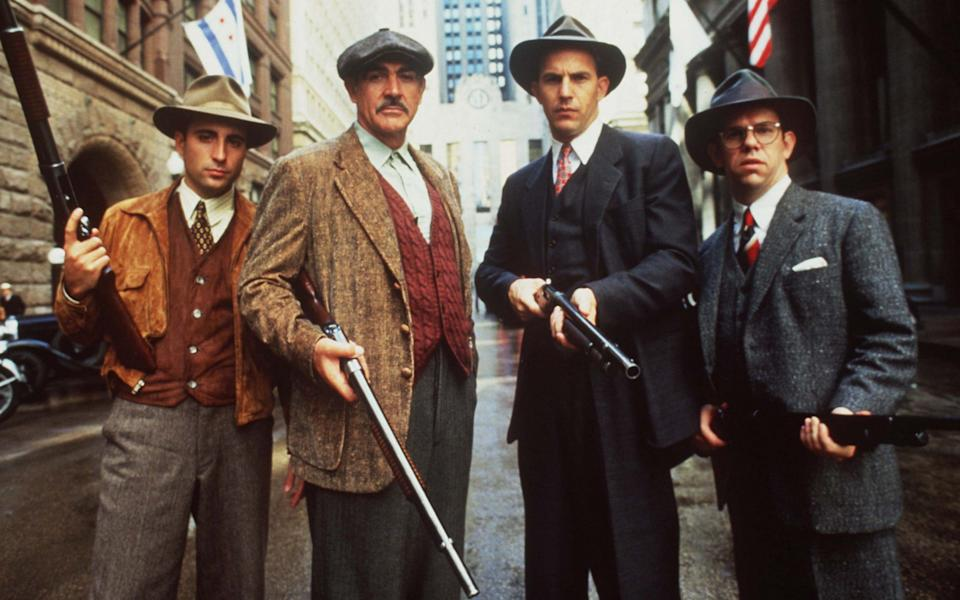 Connery with (from left) Andy Garcia, kevin Kostner and Charles Martin Smith in The Untouchables (1987) - Alpha Press