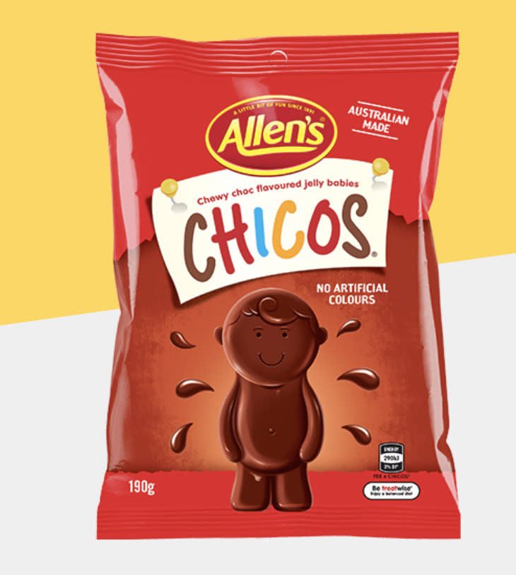 Pictured is a bag of Allen's Lollies Chicos