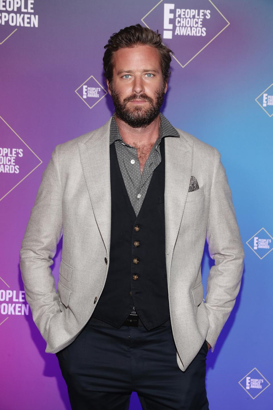 SANTA MONICA, CALIFORNIA - NOVEMBER 15: 2020 E! PEOPLE'S CHOICE AWARDS -- In this image released on November 15, Armie Hammer attends the 2020 E! People's Choice Awards held at the Barker Hangar in Santa Monica, California and on broadcast on Sunday, November 15, 2020. (Photo by Todd Williamson/E! Entertainment/NBCU Photo Bank via Getty Images)