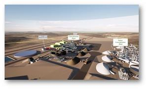 Plant 3D layout of the industrial complex and production facility for Phase 1 and Phase 2