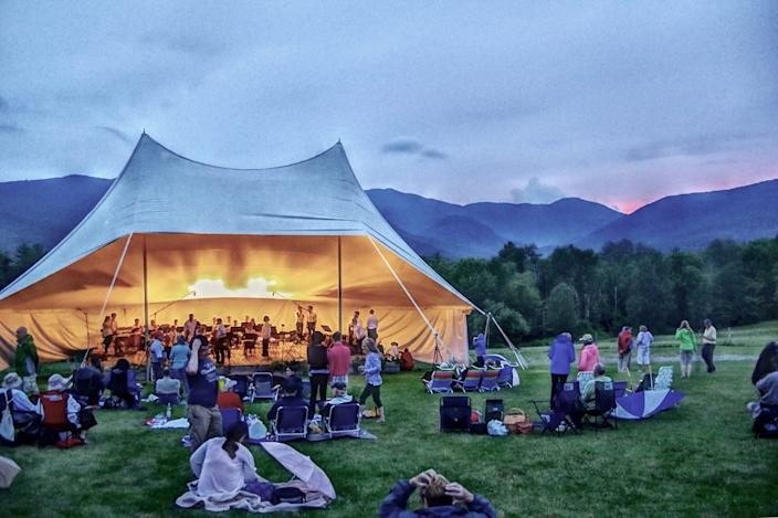 A Vermont Mozart Festival performance is held at the Trapp Family Lodge Meadow.