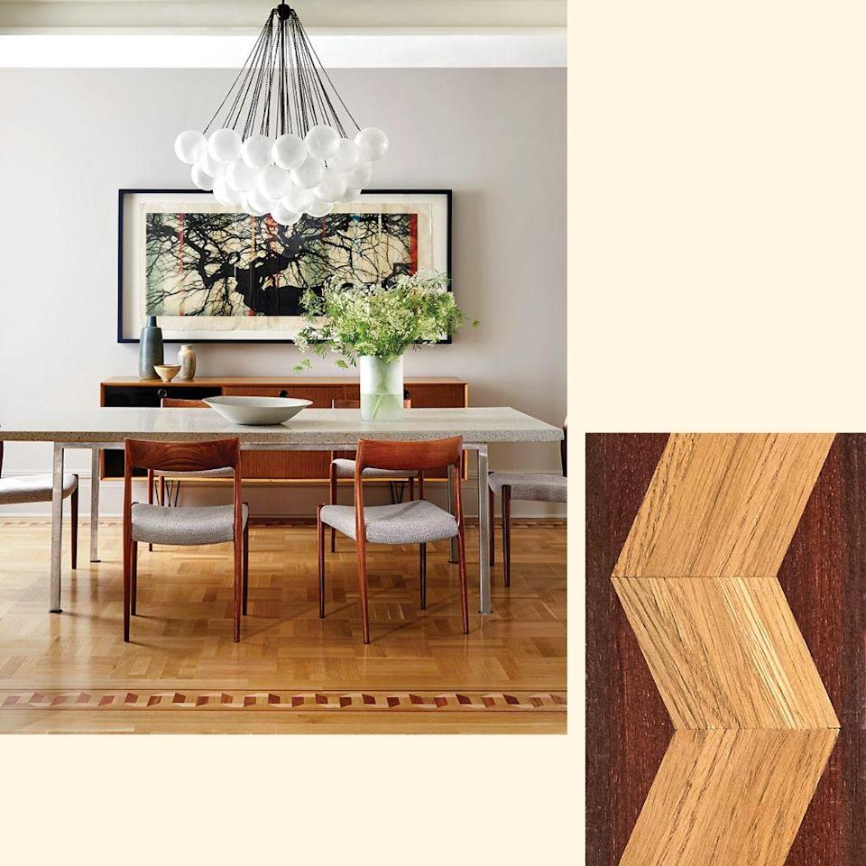 "<p>Designer Brad Ford created a white oak replica of a <a href=""https://www.elledecor.com/design-decorate/room-ideas/a23068973/brad-ford-house-tour/"" rel=""nofollow noopener"" target=""_blank"" data-ylk=""slk:New York apartment's"" class=""link rapid-noclick-resp"">New York apartment's</a> original inlaid parquet floor. To get the look, try this oak, mahogany, and Peruvian walnut border by <a href=""http://www.pidfloors.com"" rel=""nofollow noopener"" target=""_blank"" data-ylk=""slk:pidfloors.com"" class=""link rapid-noclick-resp"">pidfloors.com</a>. </p>"