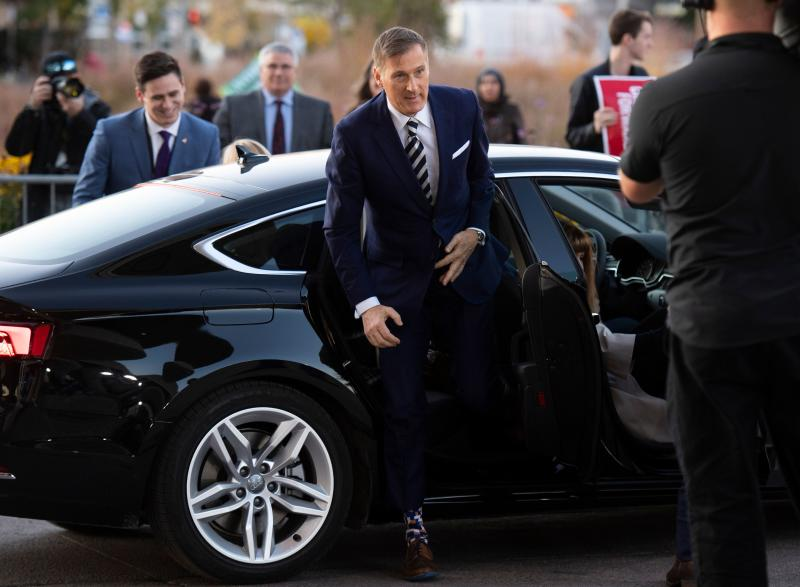People's Party of Canada leader Maxime Bernier arrives at The Leaders Debate at the Canadian Museum of History in Gatineau, Quebec on October 10, 2019. - Prime Minister Justin Trudeau's Liberals are neck and neck with Conservatives in the Canada's October 21 elections race, with neither party likely to win an absolute majority, polls showed as party leaders headed into a final debate on October 10. (Photo by Justin Tang / POOL / AFP) (Photo by JUSTIN TANG/POOL/AFP via Getty Images)