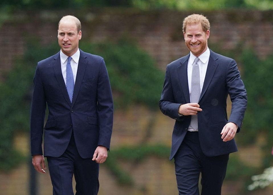 <p>William and Harry look in good spirits while arriving at the statue unveiling. </p>