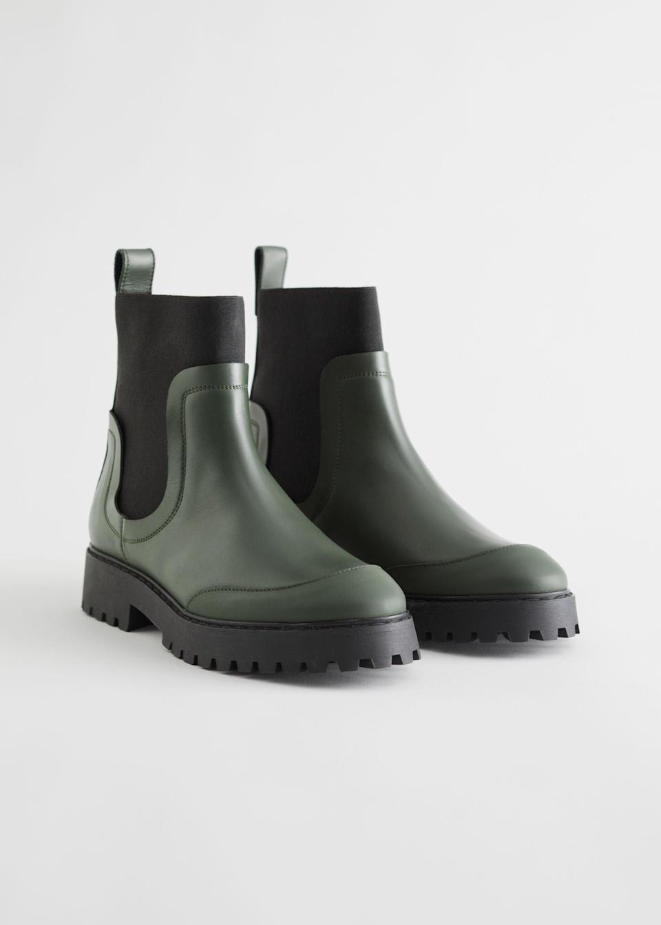 "<br><br><strong>& Other Stories</strong> Elasticated Leather Chelsea Boots, $, available at <a href=""https://go.skimresources.com/?id=30283X879131&url=https%3A%2F%2Fwww.stories.com%2Fen_usd%2Fshoes%2Fboots%2Fchelseaboots%2Fproduct.elasticated-leather-chelsea-boots-green.0893443003.html"" rel=""nofollow noopener"" target=""_blank"" data-ylk=""slk:& Other Stories"" class=""link rapid-noclick-resp"">& Other Stories</a>"