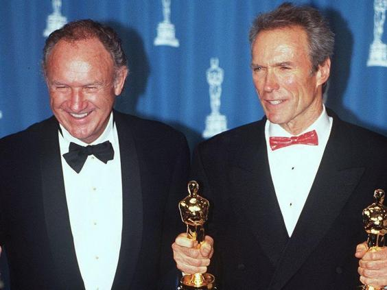Hackman with his 'Unforgiven' co-star and director Clint Eastwood at the 1993 Oscars (Rex)