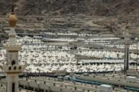 Tents erected for pilgrims in Mina, near the holy Muslim city of Mecca, ahead of this year's hajj, which will be performed by 60,000 worshippers amid tight Covid-19 controls
