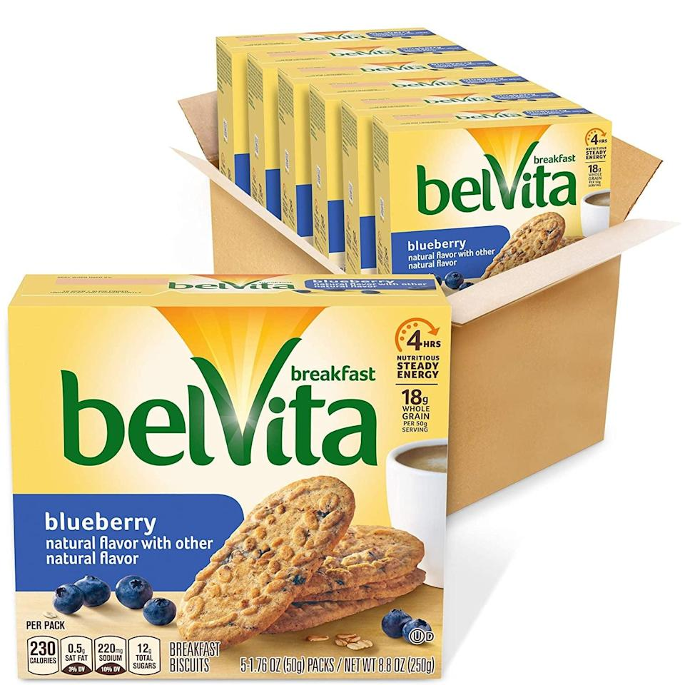 <p>For a solid whole-grain snack, go for these <span>Belvita Blueberry Breakfast Biscuits</span> ($15).</p>