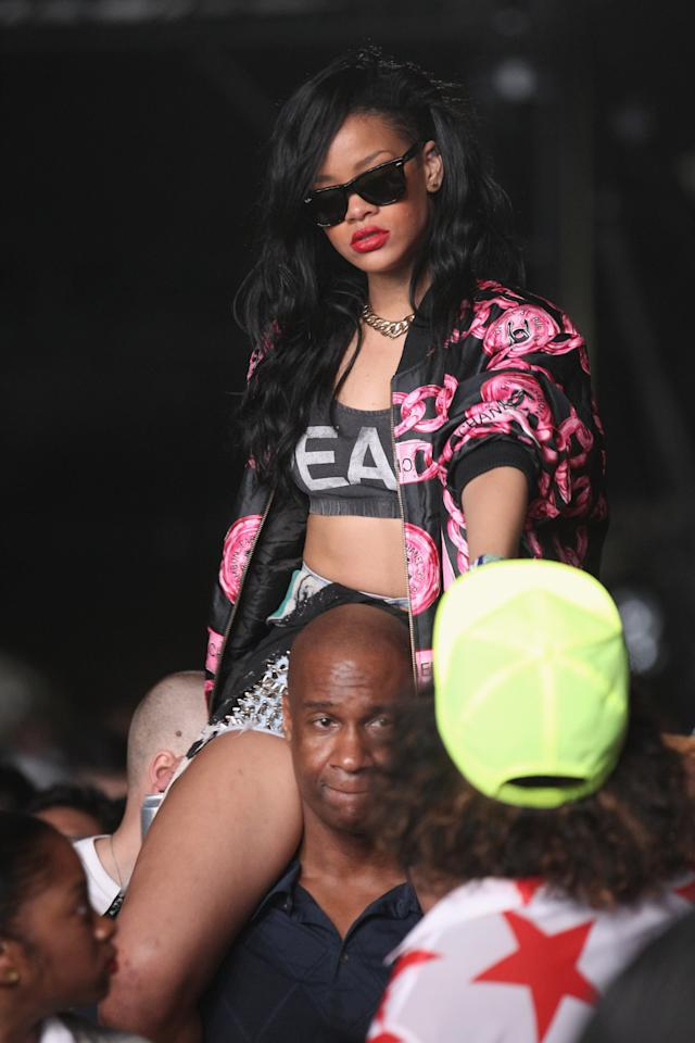 INDIO, CA - APRIL 15:  Singer Rihanna in the audience during day 3 of the 2012 Coachella Valley Music & Arts Festival at the Empire Polo Field on April 15, 2012 in Indio, California.  (Photo by Christopher Polk/Getty Images for Coachella)