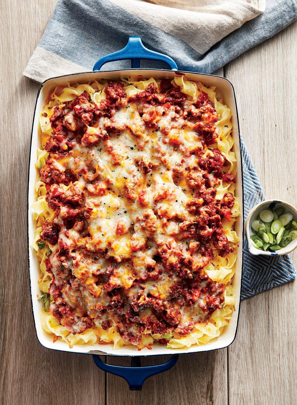 """<p><strong>Recipe: <a href=""""https://www.southernliving.com/recipes/homestyle-ground-beef-casserole-recipe"""" rel=""""nofollow noopener"""" target=""""_blank"""" data-ylk=""""slk:Homestlye Ground Beef Casserole"""" class=""""link rapid-noclick-resp"""">Homestlye Ground Beef Casserole</a></strong></p> <p>This ground beef recipe includes make-ahead instructions so you can keep it in the freezer for busy weeknights. </p>"""