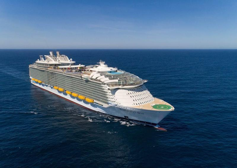 The Symphony of the Seas, the world's largest cruise ship, on the open seas. (Photo: Royal Caribbean)