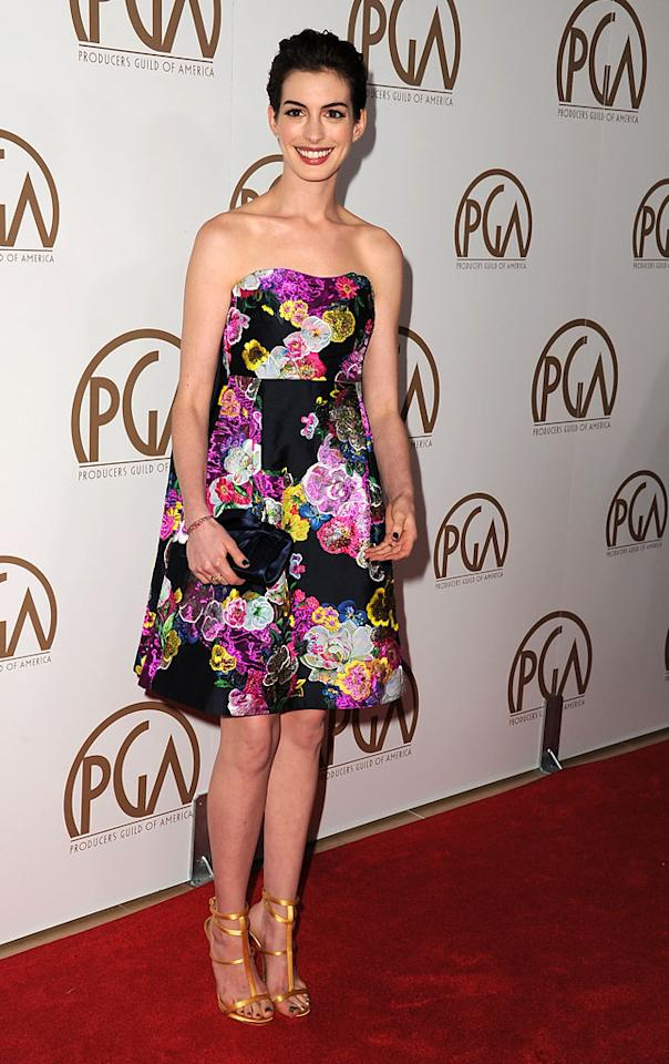 BEVERLY HILLS, CA - JANUARY 26:  Actress Anne Hathaway arrives at the 24th Annual Producers Guild Awards held at The Beverly Hilton Hotel on January 26, 2013 in Beverly Hills, California.  (Photo by Steve Granitz/WireImage)