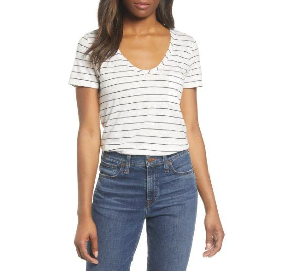 """This <a href=""""https://fave.co/3ogj5hE"""" target=""""_blank"""" rel=""""noopener noreferrer"""">CaslonRounded V-Neck T-Shirt </a>is available in four colors and sizes XS to XXL. Find it <a href=""""https://fave.co/3ogj5hE"""" target=""""_blank"""" rel=""""noopener noreferrer"""">on sale for $25</a> (normally $18) at Nordstorm."""