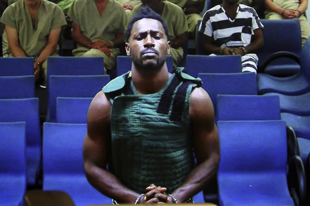 Antonio Brown appears at the Broward County Courthouse in Fort Lauderdale, Florida, via video link on Friday. Brown was granted bail on Friday after spending the night in a Florida jail. (Amy Beth Bennett/South Florida Sun Sentinel via AP, Pool)