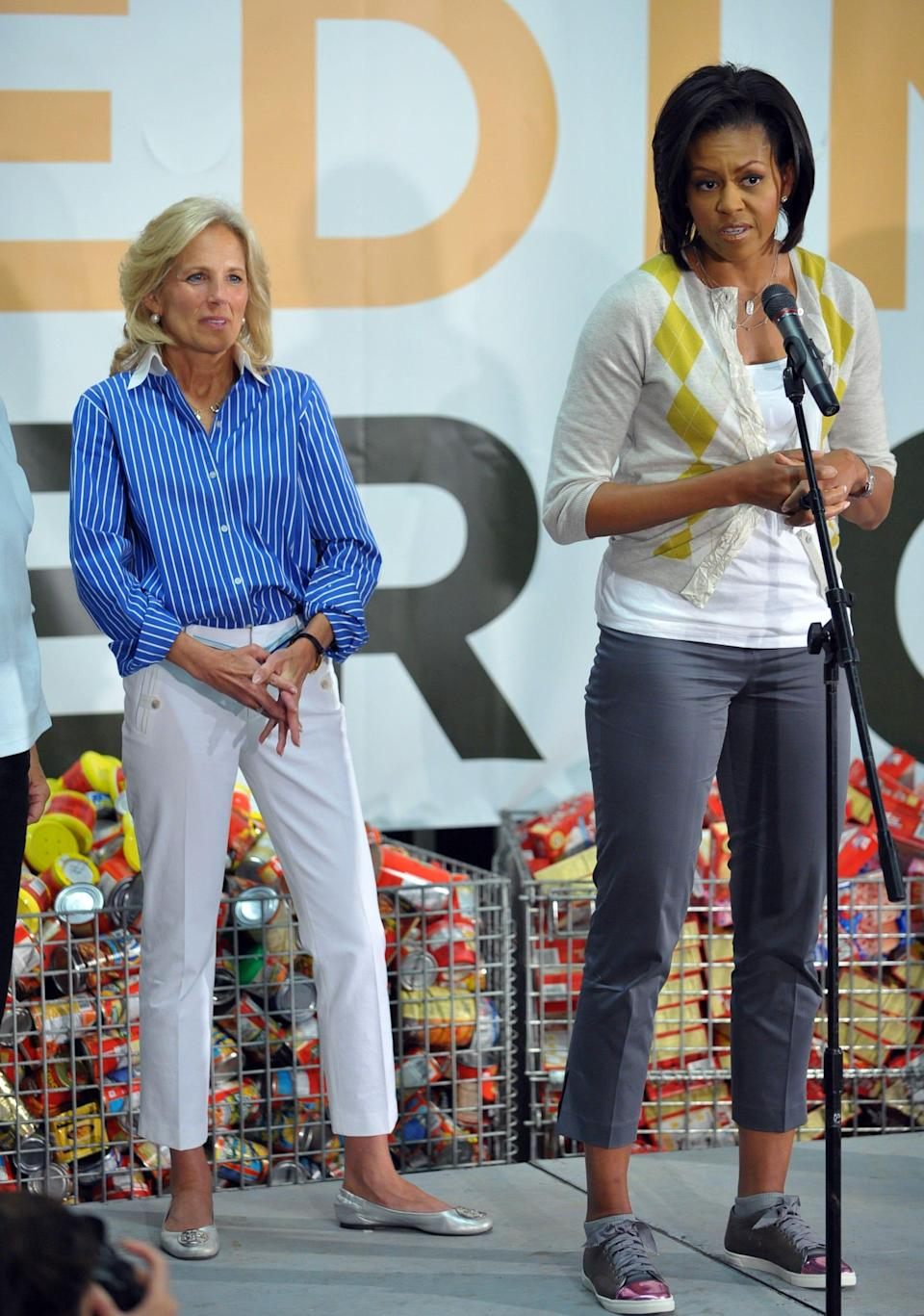Both first lady Michelle Obama and second lady Jill Biden nail preppy chic in cropped pants during an event at the Capital Area Food Bank on April 29, 2009 in Washington.