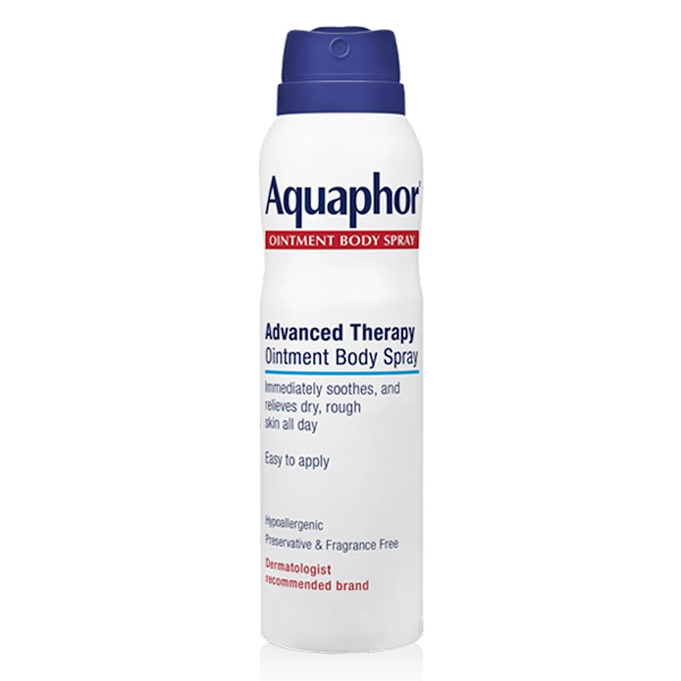 """<p>A new and arguably improved version of Aquaphor's original healing ointment, its Advanced Therapy Ointment Body Spray offers the same skin-softening and protective benefits, minus the thick, somewhat greasy feel that some people can't get into. Instead, this lightweight spray delivers an even mist that soothes skin upon contact and softens dry or scaly patches, too. New York City-based dermatologist <a href=""""http://www.smarterskindermatology.com/"""">Sejal Shah</a> says she recommends it because you can easily spritz, rub it in, and go in one easy motion, and it works just as well as the original.</p> <p><strong>$13</strong> (<a href=""""https://shop-links.co/1635727613365264685"""" rel=""""nofollow"""">Shop Now</a>)</p>"""