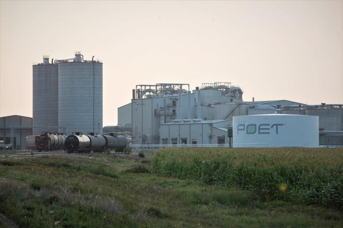 Project developers plan to build carbon capture pipelines connecting dozens of Midwestern ethanol refineries. Poet, the country's largest producer of biofuels, operates this refinery in Chancellor, South Dakota, shown on Thursday, July 22, 2021. The company has not indicated whether it will connect its ethanol refineries to the carbon capture pipelines. (AP Photo/Stephen Groves)