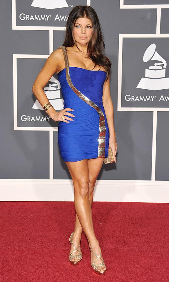 """Fergie  Grade: A+   The Black Eyed Peas beauty popped a regal pose in a royal blue Emilio Pucci mini and super-sexy snakeskin stilettos. John Shearer/<a href=""""http://www.wireimage.com"""" target=""""new"""">WireImage.com</a> - January 31, 2010"""