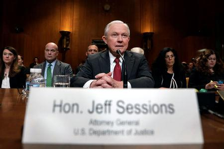 U.S. Attorney General Jeff Sessions waits to  testify before a Senate Appropriations Commerce, Justice, Science, and Related Agencies Subcommittee hearing on the proposed budget estimates for the Justice Department, on Capitol Hill in Washington, U.S., April 25, 2018. REUTERS/Yuri Gripas