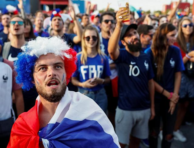 Soccer Football - World Cup - Group C - France vs Peru - Moscow, Russia - June 21, 2018 France fans react as he watch the match at Moscow Fan Fest. REUTERS/Gleb Garanich