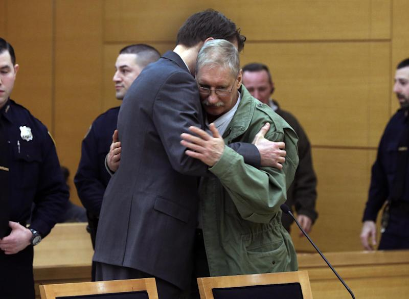 David Ranta is hugged by his attorney Pierre Sussman after Judge Miriam Cyrulnik freed him, in state Supreme Court in Brooklyn, New York, Thursday, March 21, 2013. Ranta, 58, who spent more than two decades behind bars was freed on Thursday after a reinvestigation of his case cast serious doubt on evidence used to convict him in the Feb. 8, 1990 shooting of Rabbi Chaskel Werzberger. (AP Photo/Richard Drew, Pool)