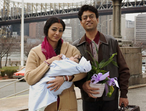 In this Mira Nair adaptation of Jhumpa Lahiri's book, Irrfan delivers a quiet and deeply affecting performance as the patriarch Ashoke Ganguli, who tries to find a balance between his memories of his hometown Calcutta and his new life with his family in America. Such convincing portrayal of a reserved Bengali man won him rave reviews and a Best Supporting Actor nomination in that year's Independent Spirit Awards.