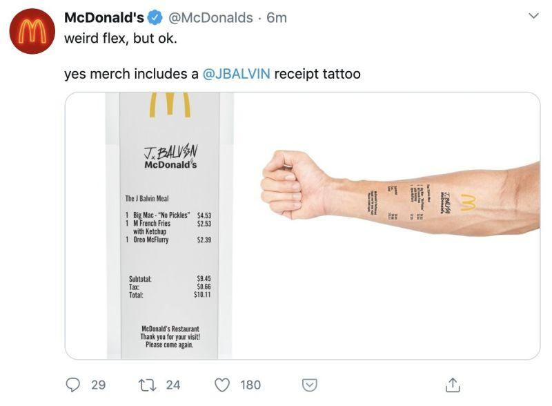 The McDonald's J Balvin meal receipt temporary tattoo