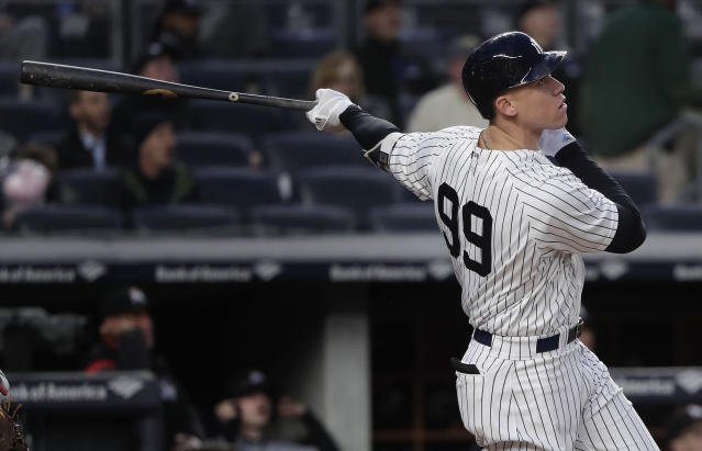 "<a class=""link rapid-noclick-resp"" href=""/mlb/players/9877/"" data-ylk=""slk:Aaron Judge"">Aaron Judge</a> became the fastest player ever to reach 60 career home runs. (AP Photo)"