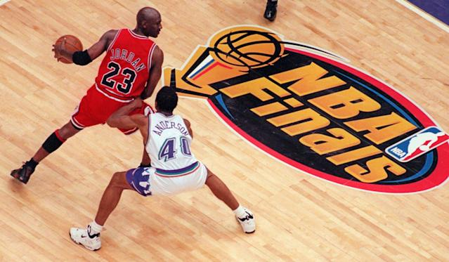 Game 6 of the 1998 NBA Finals between Michael Jordan's Bulls and the Utah Jazz will be aired as a movie this week. (AP Photo/Mark J. Terrill)