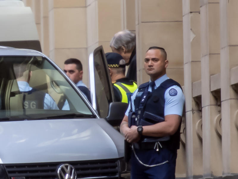 Cardinal George Pell leaves the Supreme Court in Melbourne, Australia, Wednesday, Aug. 21, 2019. Australian appeals court by a 2-1 ruling Wednesday upheld convictions against Pell, the most senior Catholic to be found guilty of sexually abusing children. (AP Photo/Andy Brownbill)