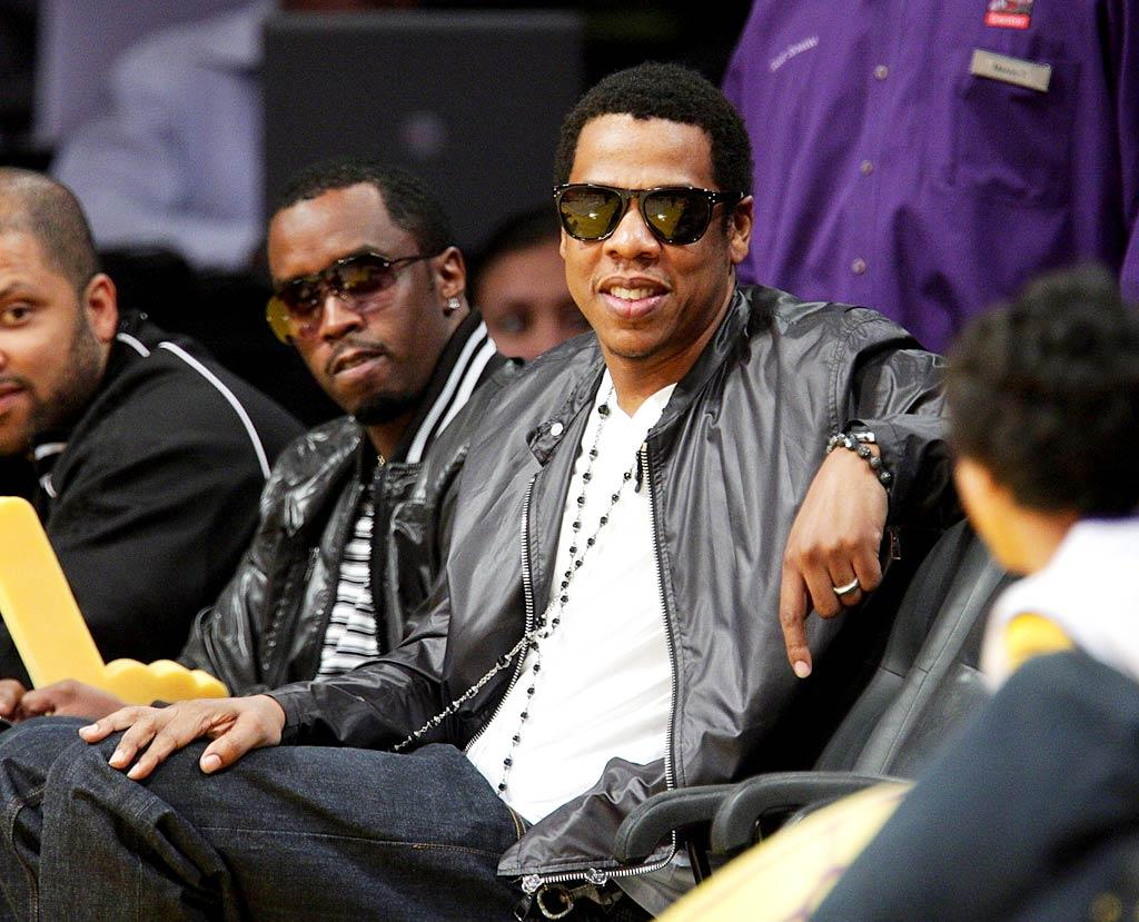 """Sean """"Diddy"""" Combs and Jay-Z kicked back at the opening NBA playoff game between the Los Angeles Lakers and the Houston Rockets. Noel Vasquez/<a href=""""http://www.gettyimages.com/"""" target=""""new"""">GettyImages.com</a> - May 4, 2009"""
