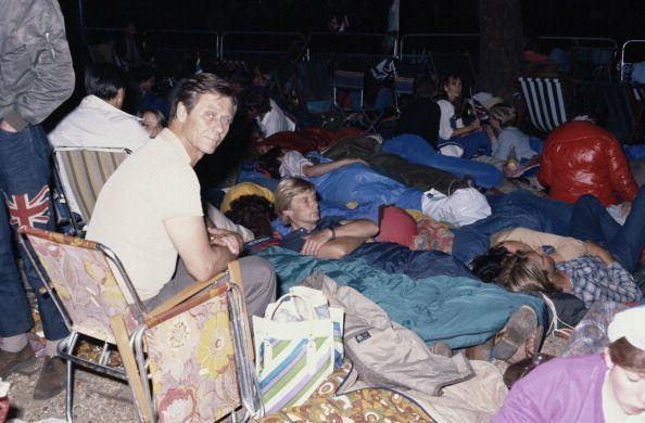 <p>Crowds camped out along the procession route the night before the wedding to ensure a good view. </p>