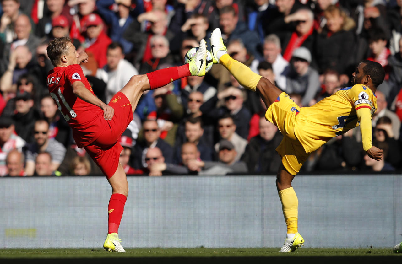 "Britain Football Soccer - Liverpool v Crystal Palace - Premier League - Anfield - 23/4/17 Crystal Palace's Mathieu Flamini in action with Liverpool's Lucas Leiva  Reuters / Phil Noble Livepic EDITORIAL USE ONLY. No use with unauthorized audio, video, data, fixture lists, club/league logos or ""live"" services. Online in-match use limited to 45 images, no video emulation. No use in betting, games or single club/league/player publications.  Please contact your account representative for further details."