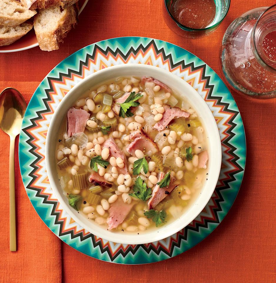 "<p>Recipe: <a href=""https://www.southernliving.com/recipes/capitol-hill-bean-soup-recipe"">Capitol Hill Bean Soup</a></p> <p>Also known as Senate Bean Soup, this storied dish has been served in the capitol since 1903. </p>"