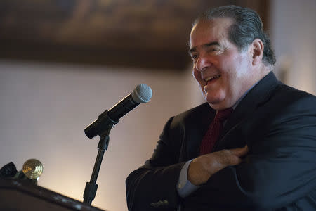 Court Justice Antonin Scalia speaks at an event sponsored by the Federalist Society at the New York Athletic Club in New York