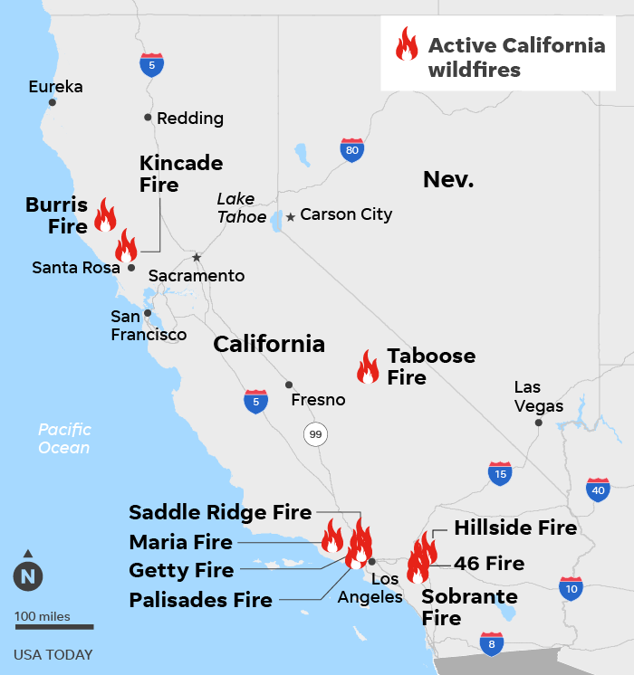 SOURCE CAL FIRE, As of 11 a.m. ET, Nov. 3; ESRI